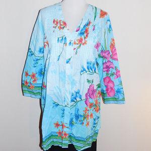 XL Soft Surroundings Blue Pink Floral Pintuck Top